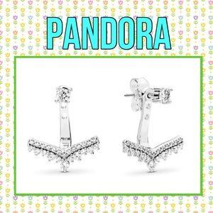 Pandora princess wish earrings clear CZ